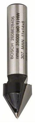 Снимка на V-канален фрезер;8 mm, D1 11 mm, L 14 mm, G 45 mm, 60°;2608628406