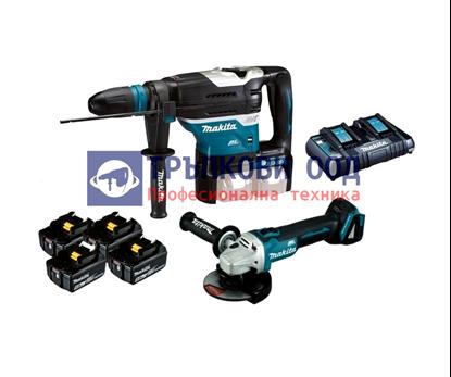 Снимка на Акумулаторен перфоратор DHR400ZKU 18V+18V, SDS-MAX + Акумулаторен ъглошлайф DGA504 + 4 бат.х 5 Ah+ DC18RD зарядно