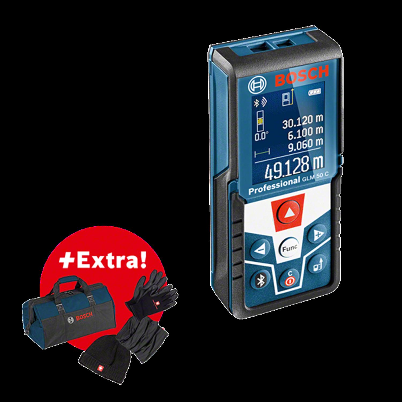 Снимка на Лазерна ролетка BOSCH GLM 50 C, Bluetooth+ Подарък чанта за инструменти +Шапка и ръкавици