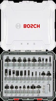 Снимка на Комплект фрезери за оберфреза, 30 части, смесени, 6 mm опашка;2607017474