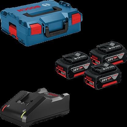 Снимка на  Професионален комплект: 3 x GBA 18V 5.0Ah акумулаторни батерии + GAL 18V-40 в L-BOXX 136,0615990L3T